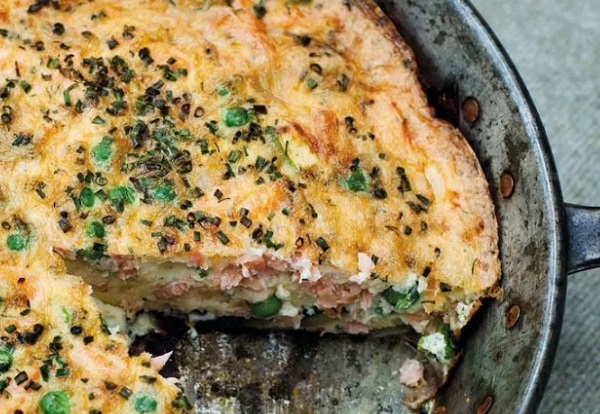Smoked Salmon, Pea and Red Onion Frittata