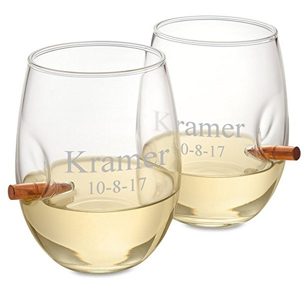 Personalized Bottomless Bullet Wine Glasses