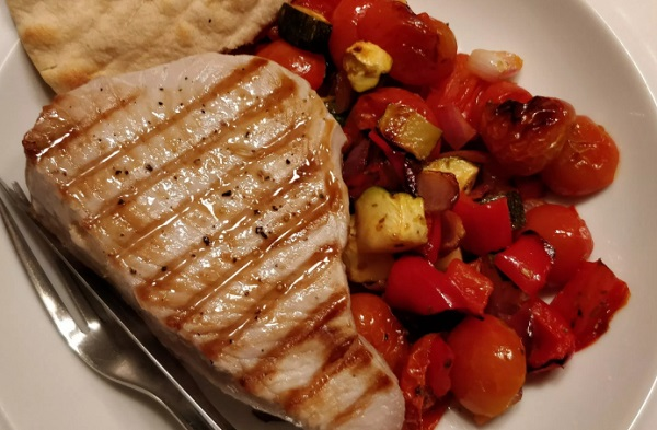 Griddled Tuna with Roasted Vegetable Salsa