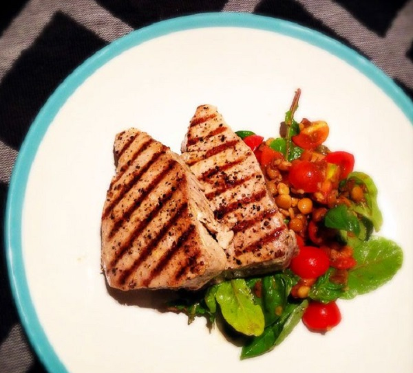 Griddled Tuna Steaks With Tomato and Caper Salsa