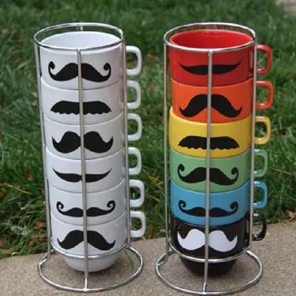 Mustache Stackable Mugs