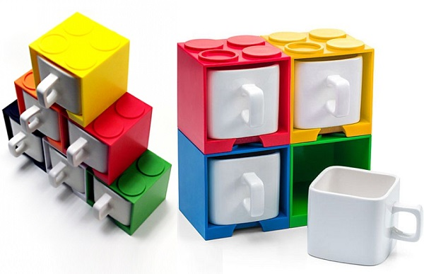 Lego Style Stackable Brick Mugs