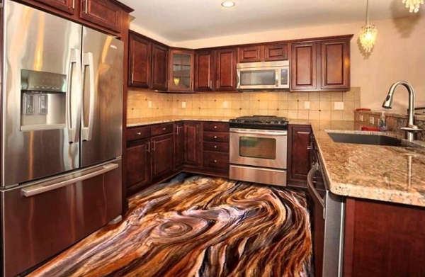 3D Wood Swirling Kitchen Floor Design