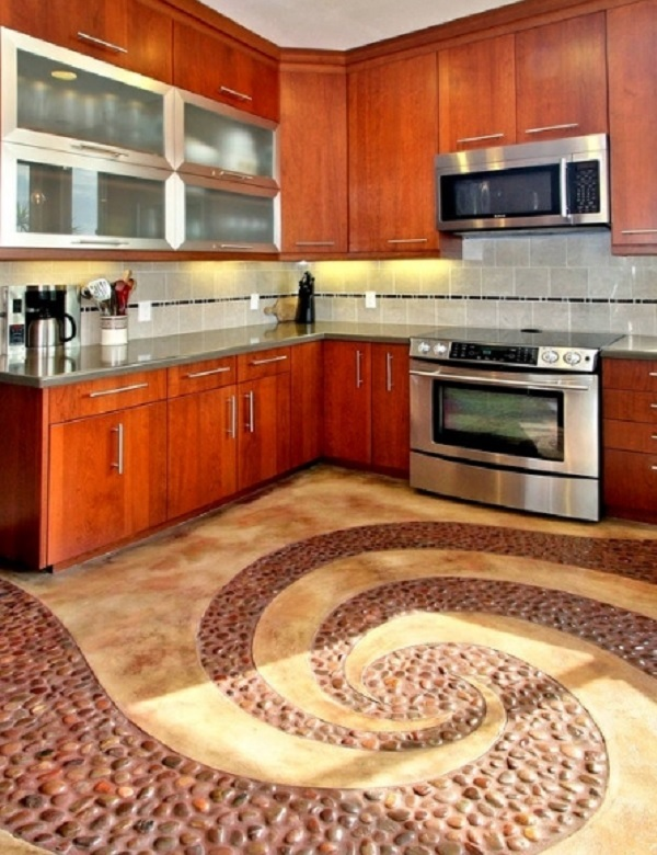 Swirling Pebbles Kitchen Floor Design