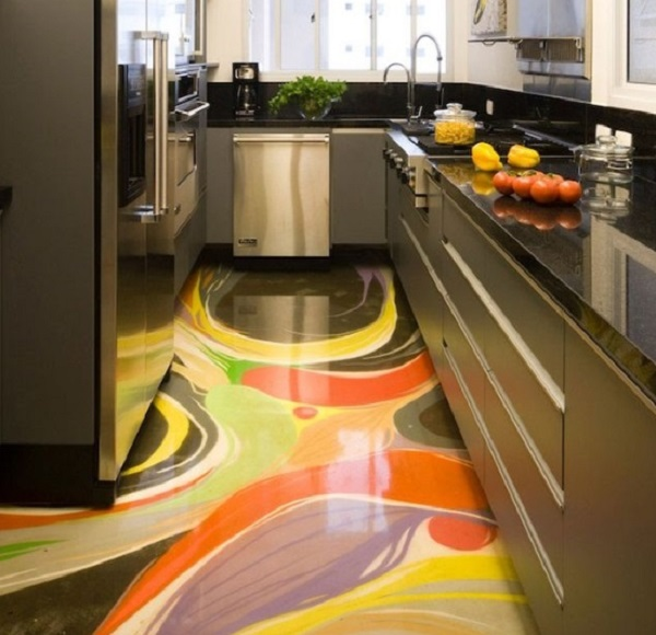 3D Art Kitchen Floor Design