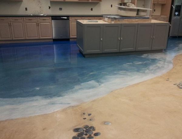 Beach Scene Kitchen Floor Design