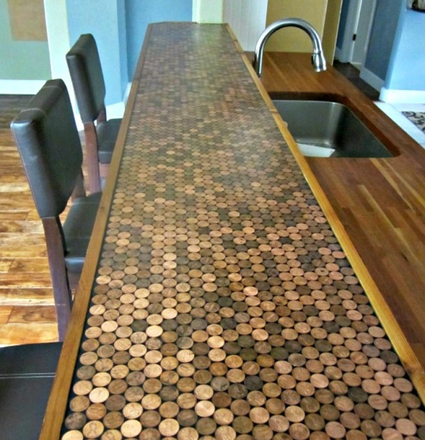 Kitchen Worktops Made With Copper Coins