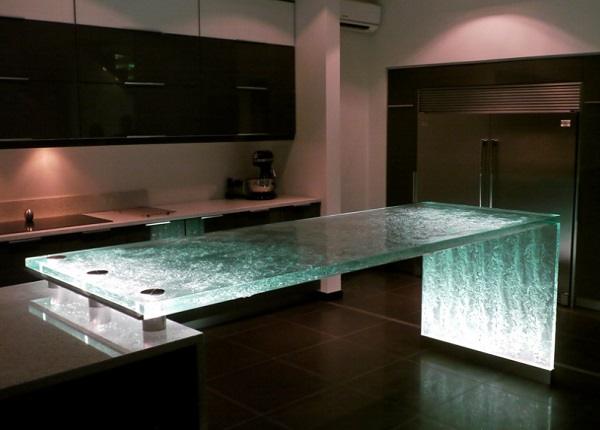 Kitchen Worktops Made With Waterfall Effect Glass