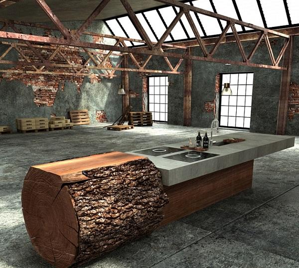 Oak Trunk Kitchen Island