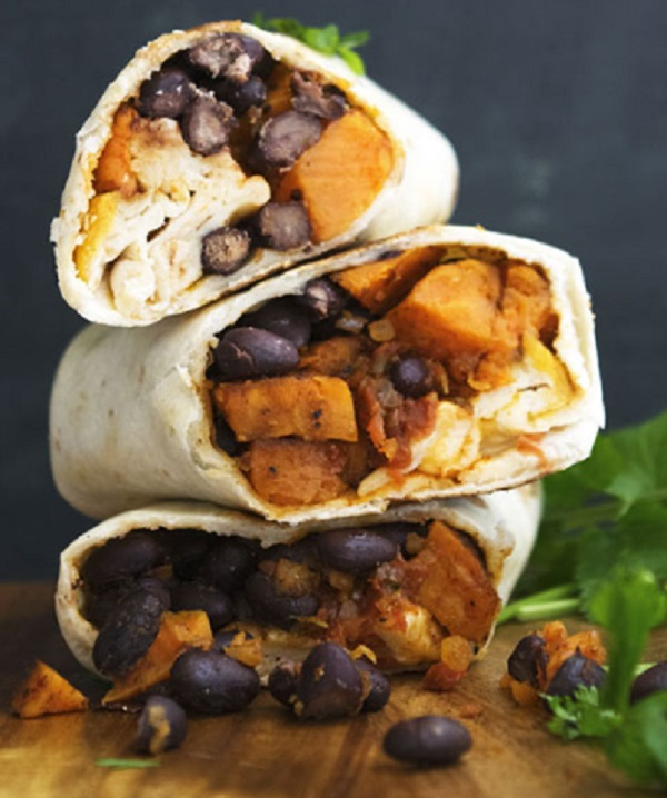 Sweet Potato and Black Bean Breakfast Burritos