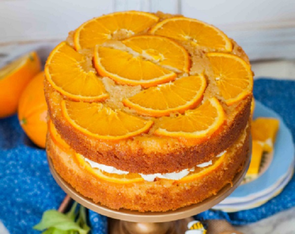 Upside-Down Honey & Orange Cake