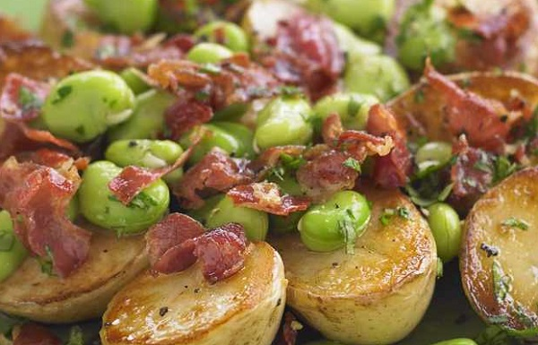 New Potatoes With Parma Ham and Broad Beans