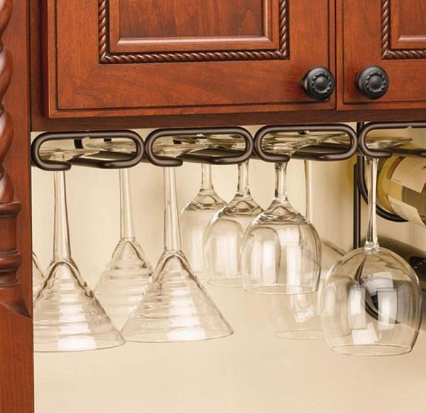 Under Kitchen Cabinet Hanging Glass Racks