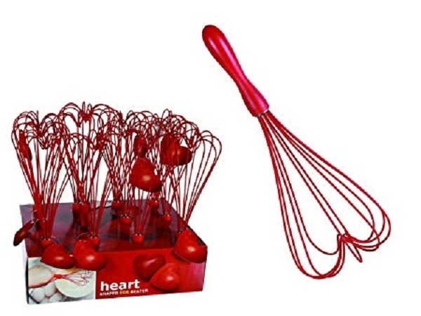 Red Heart Shaped Silicon Egg Whisk