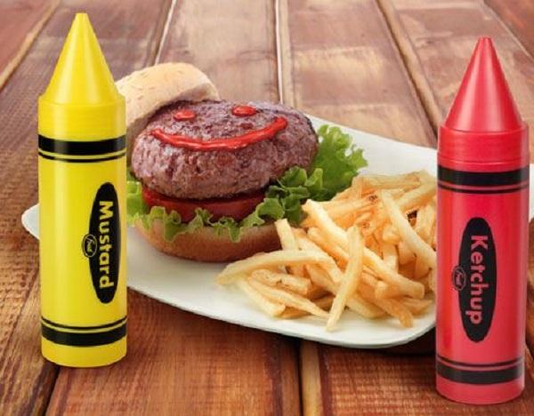 Ketchup and Mustard Crayon Bottles