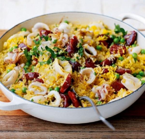 Squid and Chorizo Paella