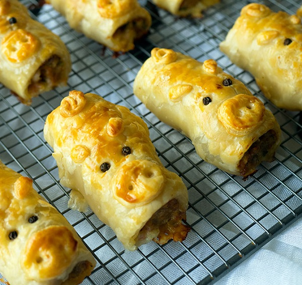 Pork Bacon and Cheese Sausage Rolls