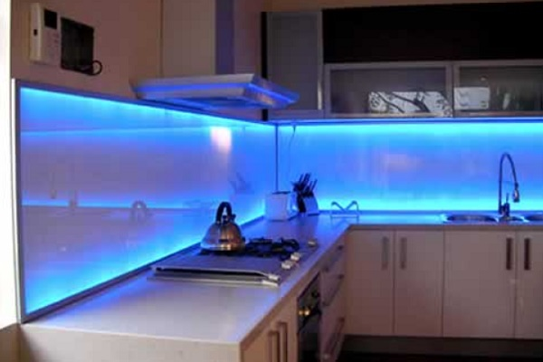 LED Light Glass Kitchen Splashback Design