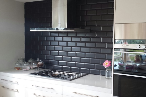 Glazed Black Subway Tiles Kitchen Splashback Design