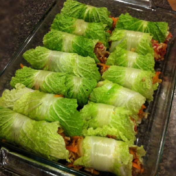 Asian Stuffed Napa Cabbage Rolls