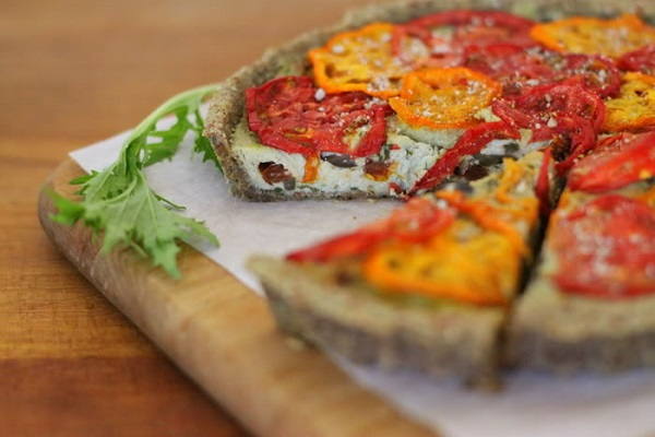 Raw Sun-Dried Tomato, Basil, and Olive Savoury Tart