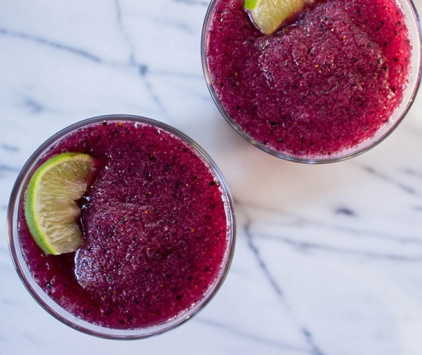 Rhubarb & Blueberry Frozen Cocktail