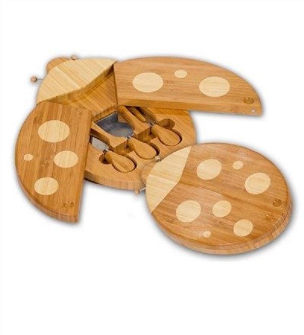 Ladybug Bamboo Cheese Board Set