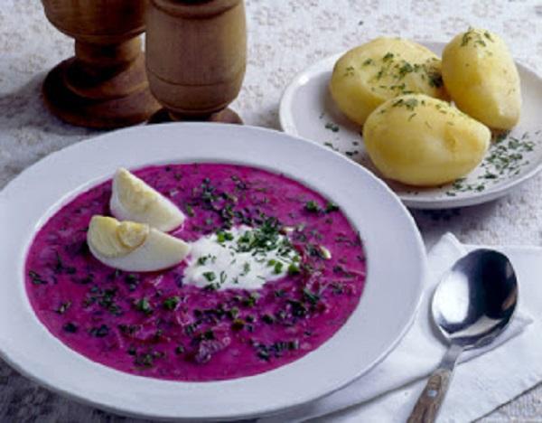 Traditional Lithuanian Šaltibarščiai (Cold Beetroot Soup)