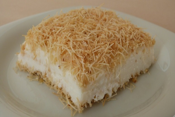 Traditional Turkish Kanafeh With Milk Pudding