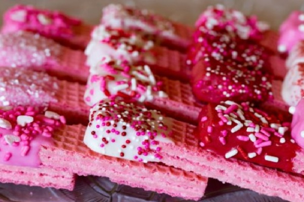 Valentines Day Pink Wafer Cookies
