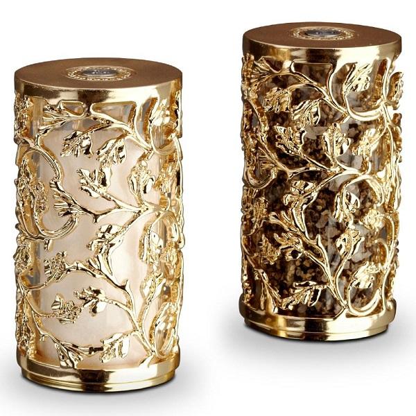 L'Objet Lorel Hollywood Regency24k Gold Salt and Pepper Shakers