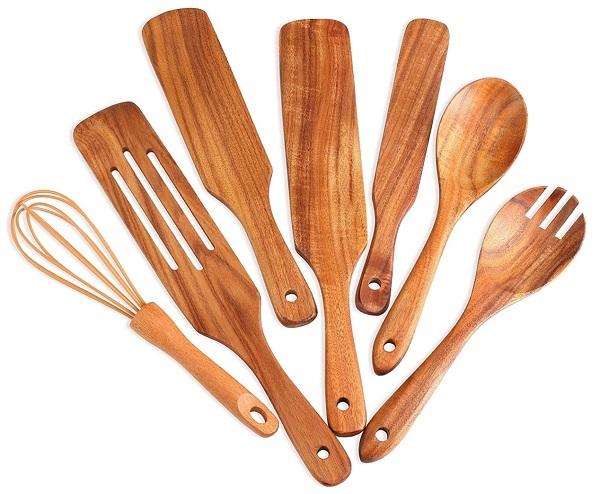 7 PCS Bamboo Kitchen Cooking Utensils Set