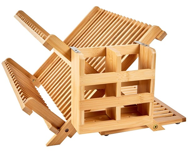 NOVAYEAH Bamboo Dish Drying Rack with Utensil Holder