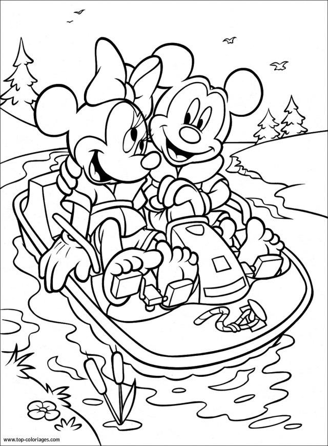 Coloriage Minnie et Mickey font du pédalo