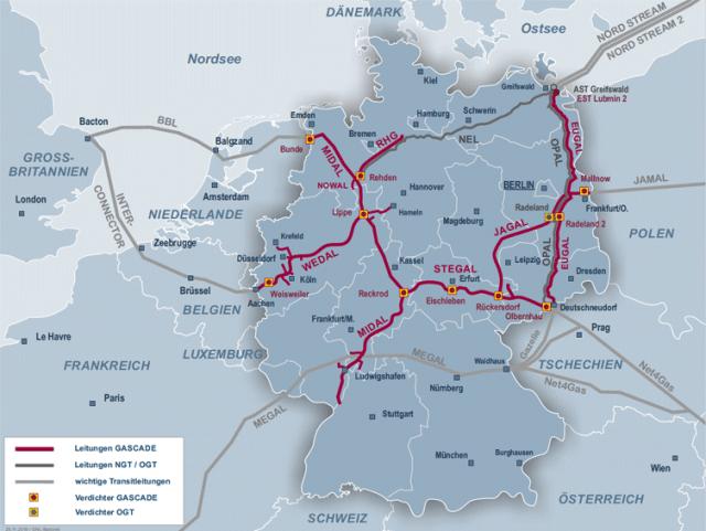 Transitgasleitung mit Anschluss an Gasnetz von Gascade