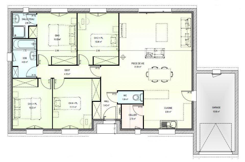plan maison 4 chambres top maison
