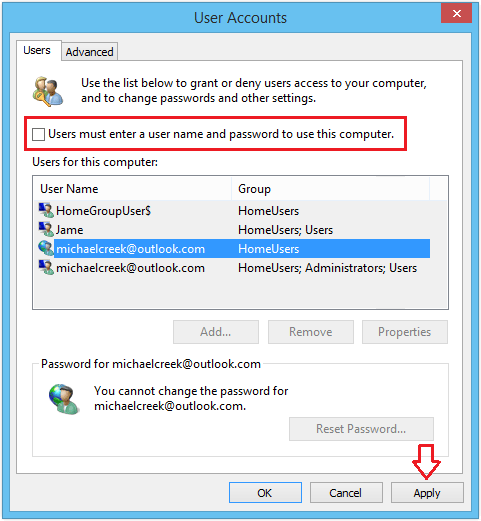 remove administrator account windows 8 without password