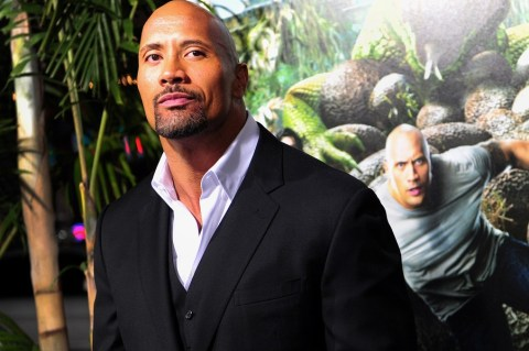 Actor Dwayne Johnson poses on arrival fo
