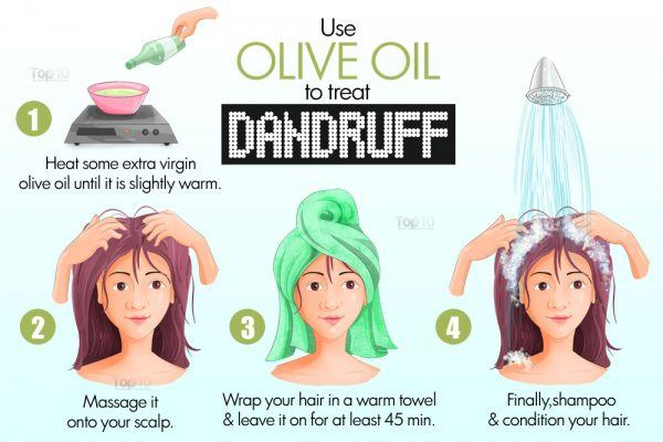 apply olive oil to treat dandruff