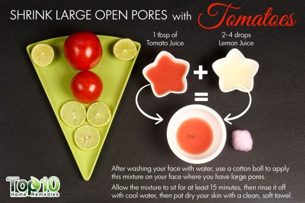 shrink large pores with tomatoes