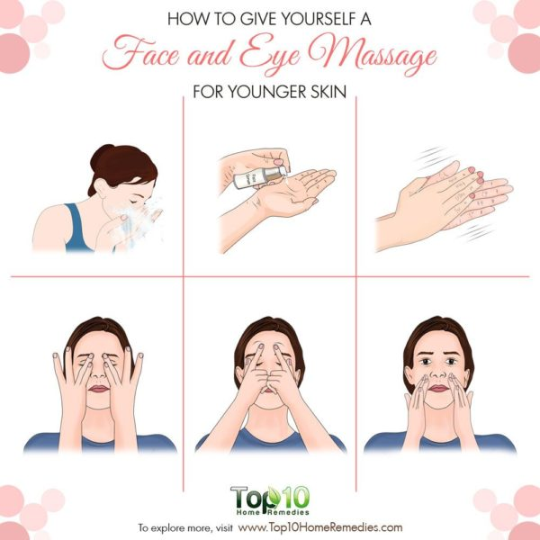 Learn how to give yourself a face and eye massage for younger-looking skin