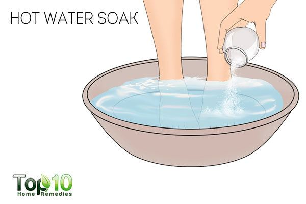 Use hot water treatment with table or Epsom salt to treat a sore big toe