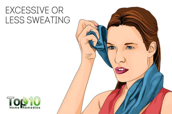 excessive or less sweating can be signs of nerve damage