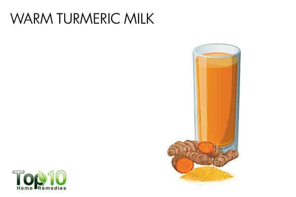 warm turmeric milk to ease pain when swallowing