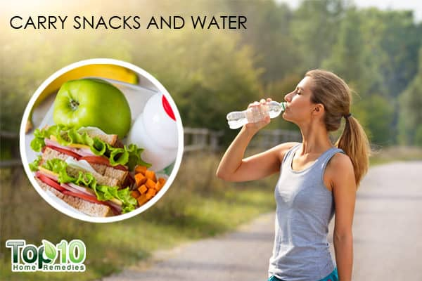 diabetics carry snacks and water during walk