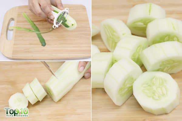 peel and cut a cucumber