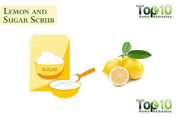 lemon and sugar scrub for dark knuckles