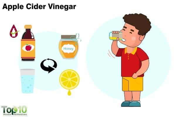 apple cider vinegar to treat sore throat in children
