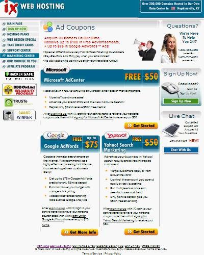 IXwebhosting ads credit, free $175