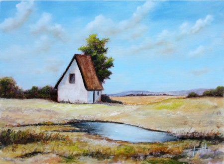 Blue Farm House Oil Painting Fine Arts Gallery